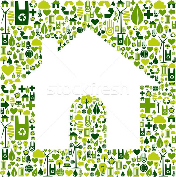 Haus Symbol Umwelt Symbole grünen Stock foto © cienpies