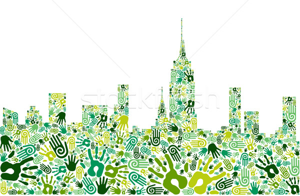 Stock photo: Go green hands city skyline background
