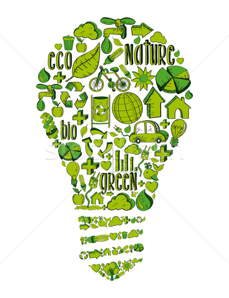 Stock photo: Green light bulb with environmental icons