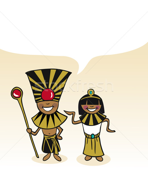 Egyptian cartoon couple bubble dialogue Stock photo © cienpies