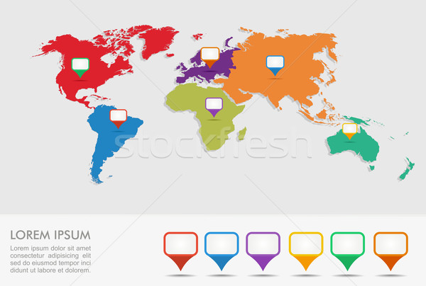 World map, geo position pointers infographics EPS10 file. Stock photo © cienpies