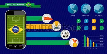 Brazylia piłka nożna mistrzostwo telefonu telefonu komórkowego Zdjęcia stock © cienpies
