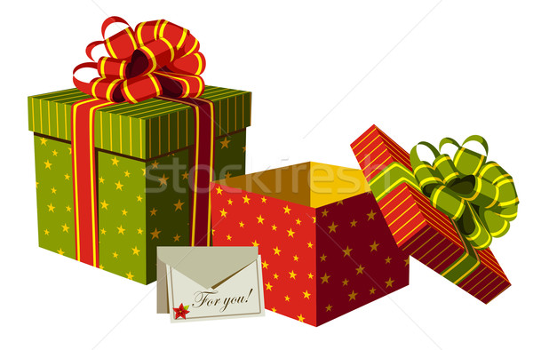 Christmas gifts boxes Stock photo © cienpies