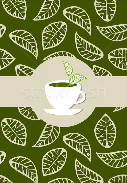 Zöld tea csomag címke bézs levelek zöld Stock fotó © cienpies