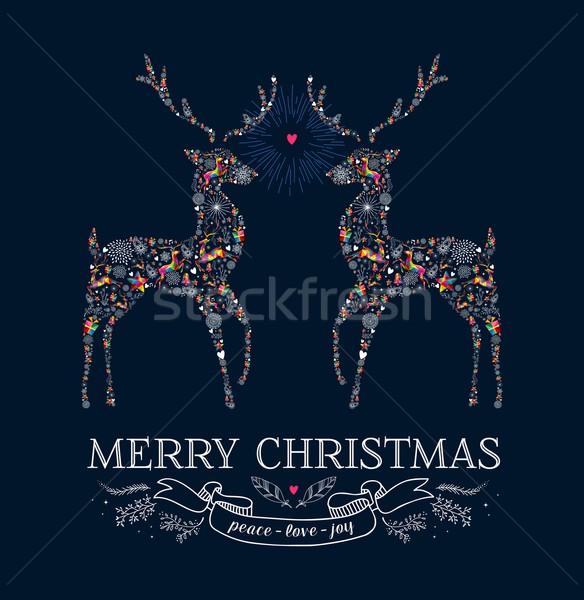 Christmas love reindeer vintage greeting card Stock photo © cienpies