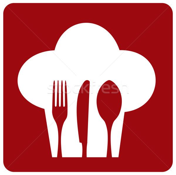 Ikon szakács étterem szakács sapka sziluett evőeszköz Stock fotó © cienpies