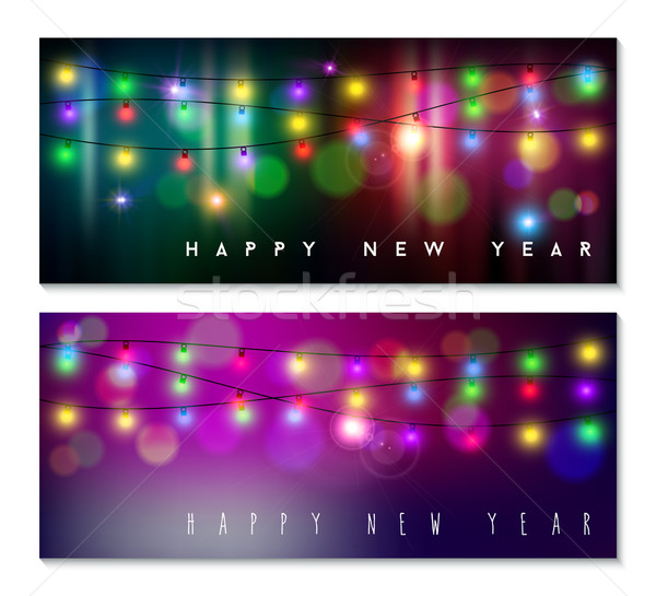 Stok fotoğraf: Happy · new · year · afiş · ayarlamak · ışık · bokeh · bulanıklık