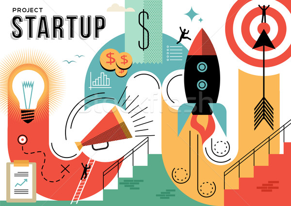 Startup business project concept illustration Stock photo © cienpies