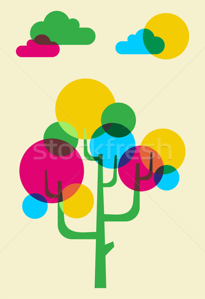 Arbre bulles rose cyan jaune vert Photo stock © cienpies