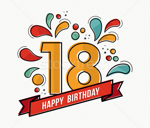 Colorful happy birthday number 18 flat line design Stock photo © cienpies