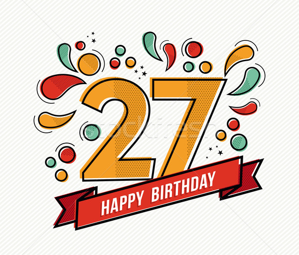 Colorful happy birthday number 27 flat line design Stock photo © cienpies