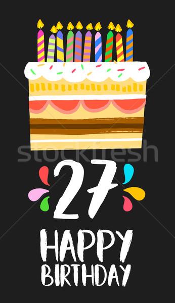Feliz aniversário cartão vinte sete ano bolo Foto stock © cienpies