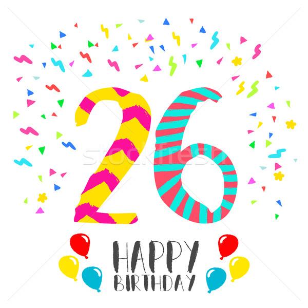Feliz aniversário 26 ano cartão número Foto stock © cienpies