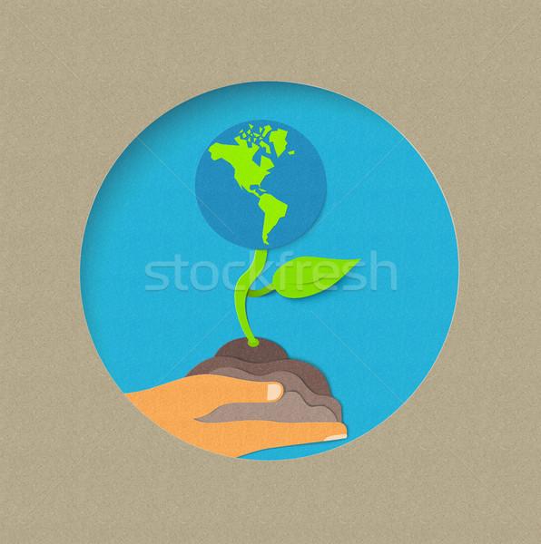 Föld napja papír vág világ természet illusztráció Stock fotó © cienpies