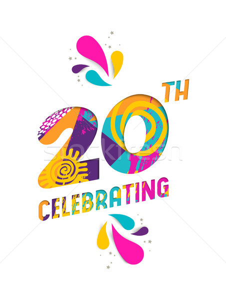 Happy 20 year celebration paper cut greeting card Stock photo © cienpies