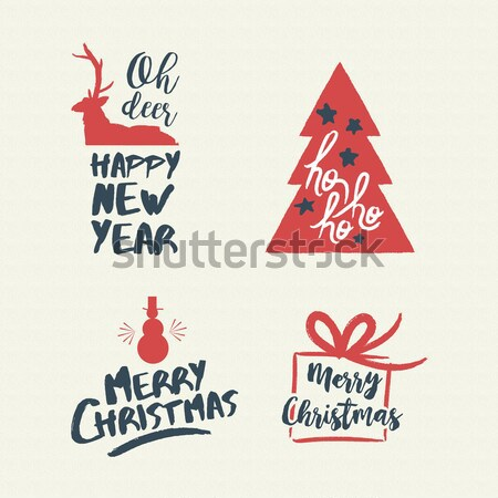 Christmas lettering holiday season red quote set Stock photo © cienpies