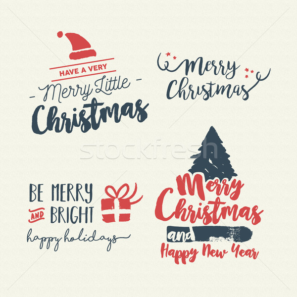 Christmas vintage holiday handmade quote art set Stock photo © cienpies