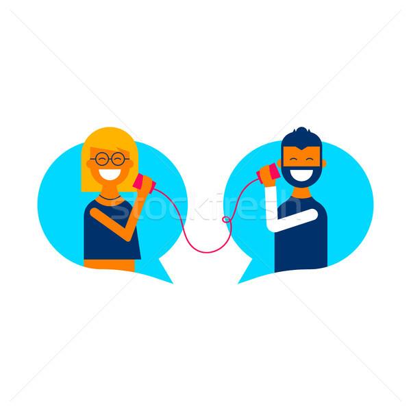 Social Media online Chat Gespräch Kommunikation Illustration Stock foto © cienpies