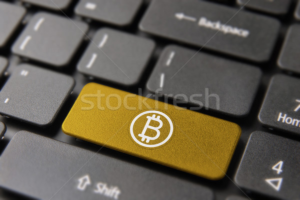 Bitcoin bilgisayar anahtar sanal ekonomi düğme Stok fotoğraf © cienpies