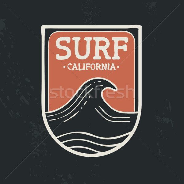 Surfar Califórnia praia onda emblema texto Foto stock © cienpies