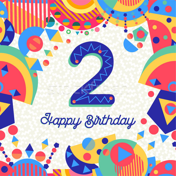 Two 2 year birthday party greeting card number Stock photo © cienpies