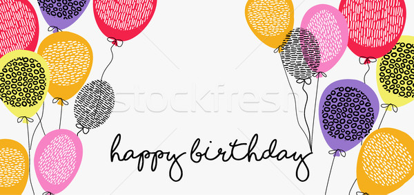 Happy birthday web banner with party balloons Stock photo © cienpies