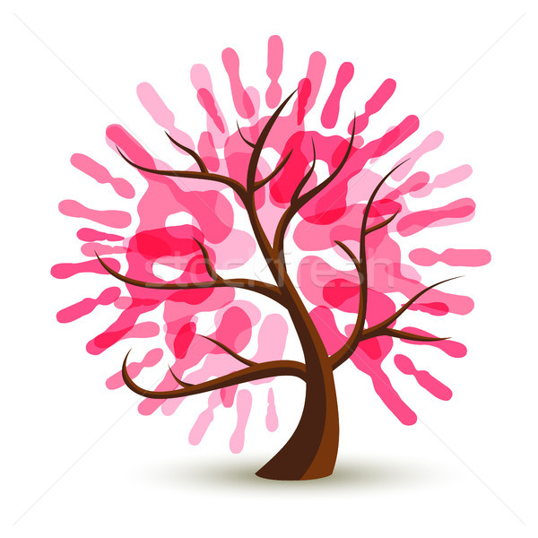 Breast Cancer Care pink hand tree concept for help Stock photo © cienpies