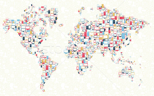 Gadgets icons world map illustration Stock photo © cienpies