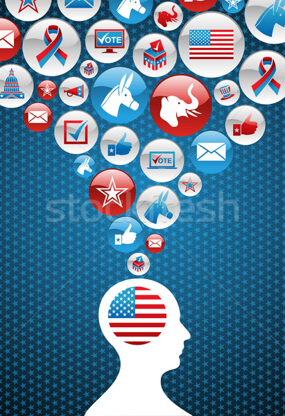 USA political elections decision man with icons Stock photo © cienpies