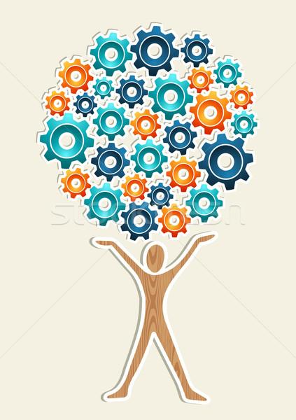 Homem engrenagem máquina árvore negócio desenvolvimento Foto stock © cienpies