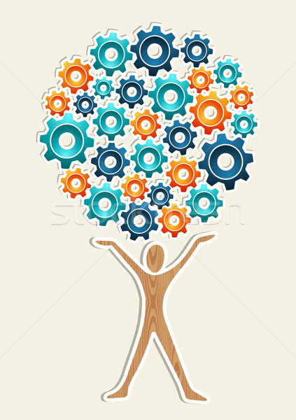 Man gear machine concept tree Stock photo © cienpies