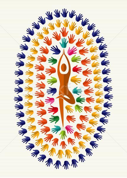 India jóga izolált kezek emberi forma Stock fotó © cienpies