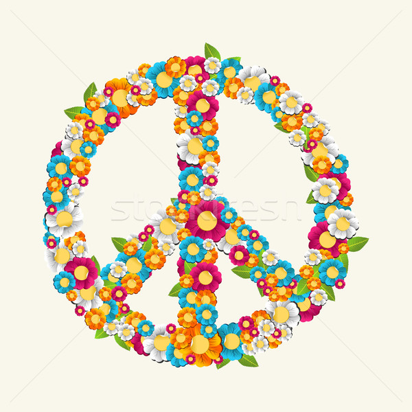 Isolated peace symbol made with flowers composition EPS10 file. Stock photo © cienpies