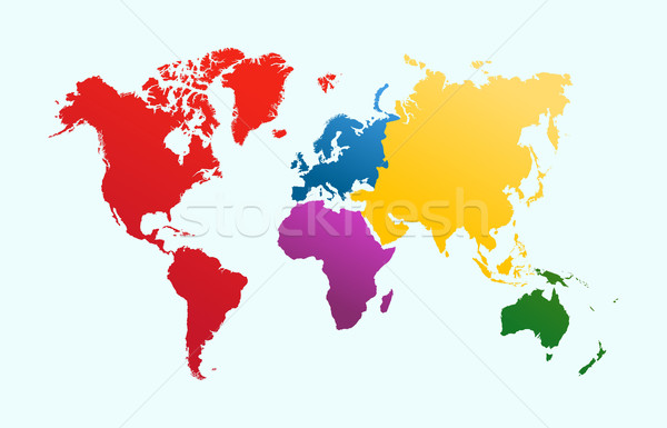 World map, colorful continents atlas EPS10 vector file. Stock photo © cienpies