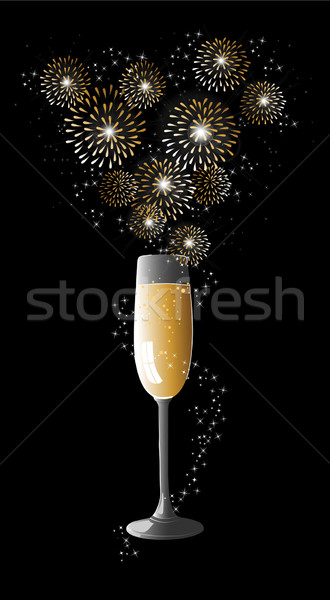Happy new year 2014 champagne fireworks greeting card Stock photo © cienpies