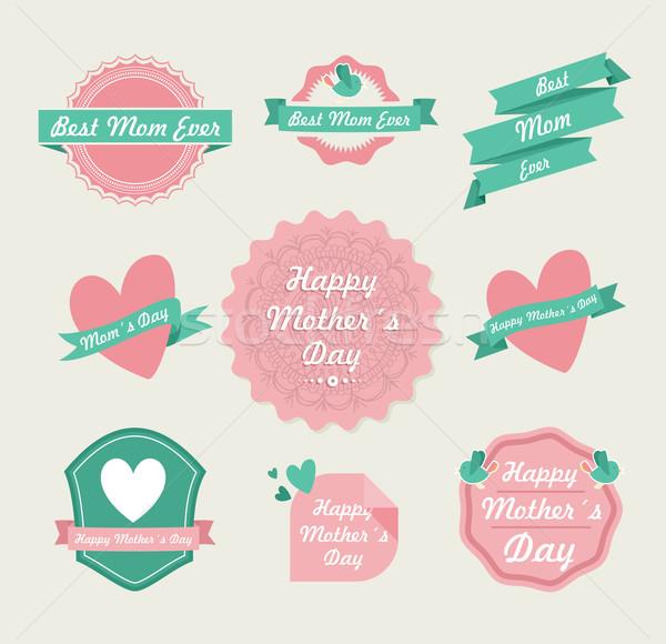 Happy Mothers day vintage label set Stock photo © cienpies