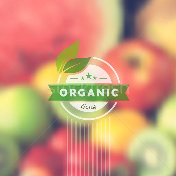 Bioélelmiszer retro címke elmosódott egészség étel Stock fotó © cienpies