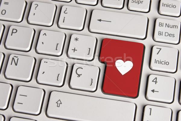 Amour forme de coeur clavier clé espagnol icône Photo stock © cienpies