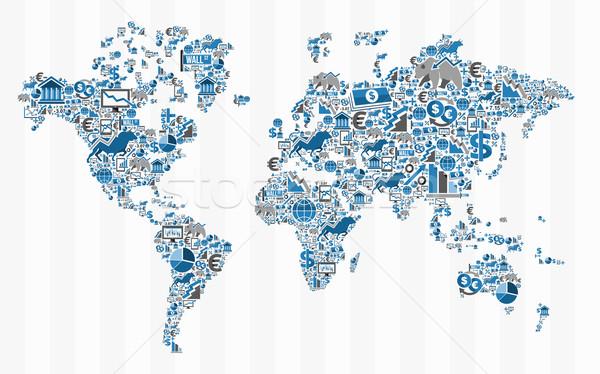Stockfoto: Beurs · financieren · wereldkaart · illustratie · ideeën