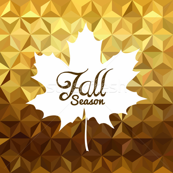 Fall season gold low poly background maple leaf Stock photo © cienpies