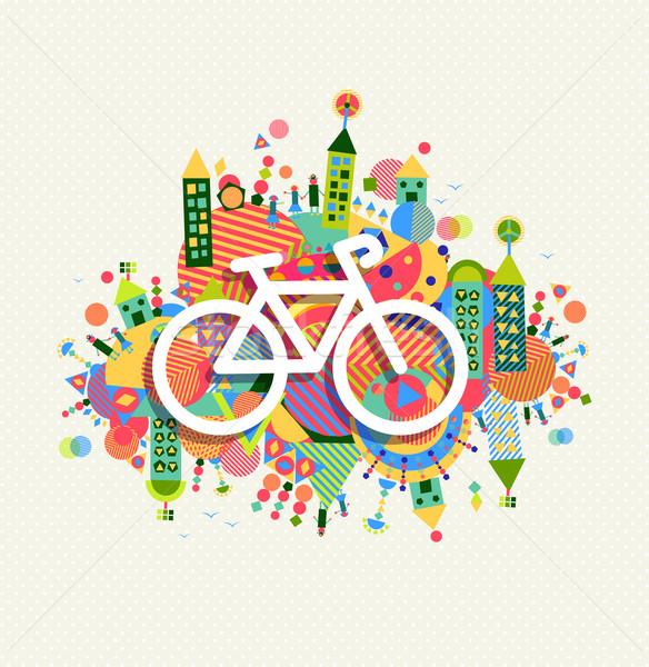 Green environment bike icon vibrant colors poster Stock photo © cienpies