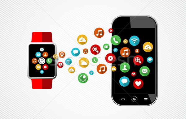 Concept of smart watch and phone with app icons Stock photo © cienpies