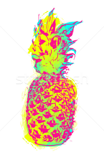 Summer pineapple art in colorful paint style Stock photo © cienpies