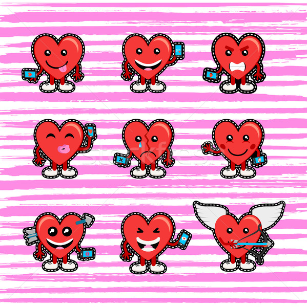 Valentines day heart emoji stitch patch set Stock photo © cienpies