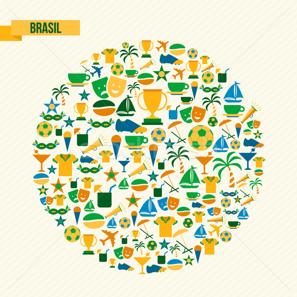 Brazil lifestyle sport and culture icon set Stock photo © cienpies