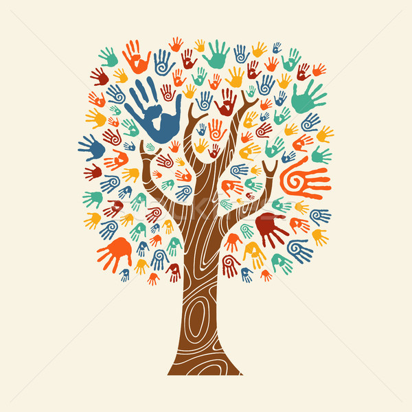Hand tree illustration colorful diverse community Stock photo © cienpies