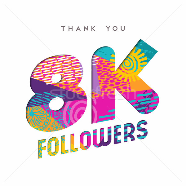 8k social media follower number thank you template Stock photo © cienpies