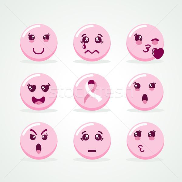 Mellrák tudatosság rózsaszín arc ikon gyűjtemény hónap Stock fotó © cienpies