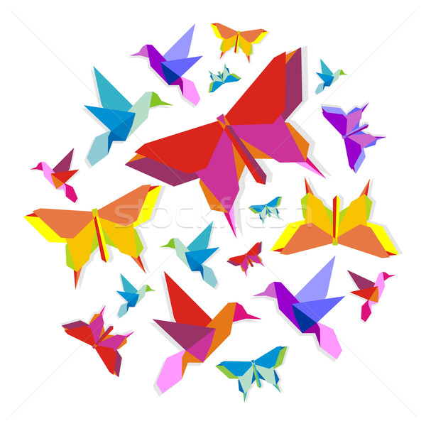 Stock photo: Spring Origami bird and butterfly circle
