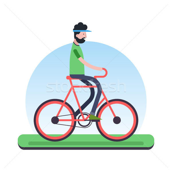 Stock photo: Man riding bicycle outdoor for environment help